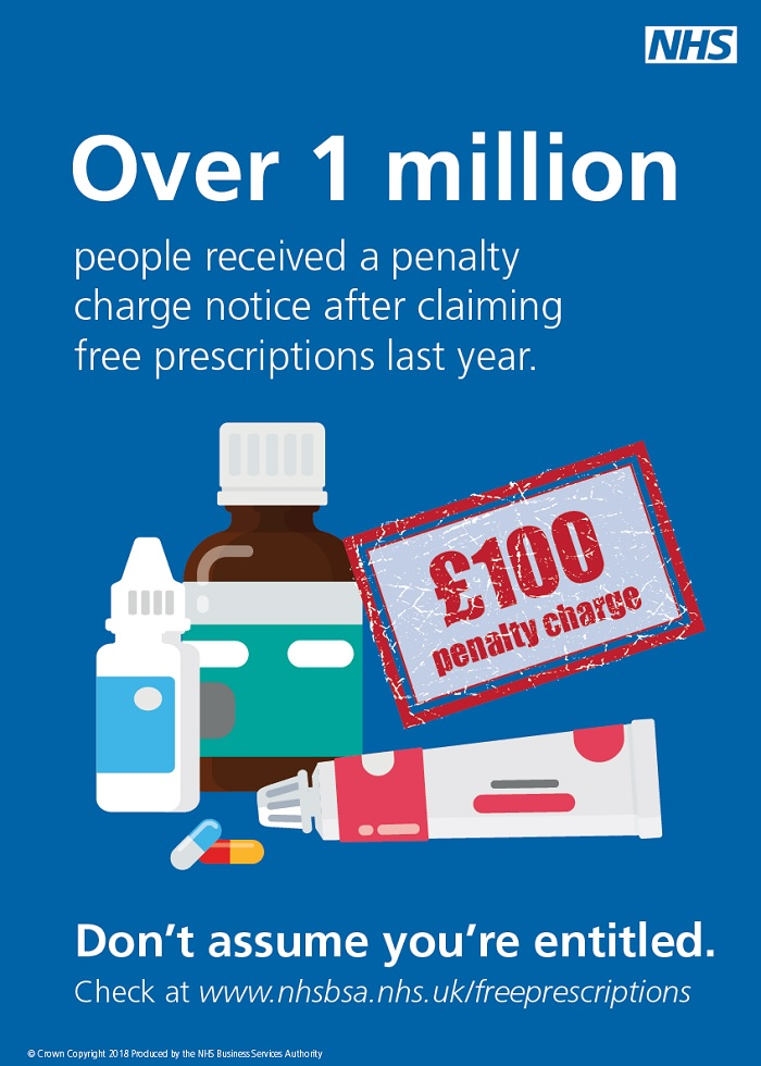 Over 1 million people received a penalty charge notice after claiming free prescriptions last year Don't assume you're entitled check at www.nhsbsa.nhs.uk/freeprescriptions