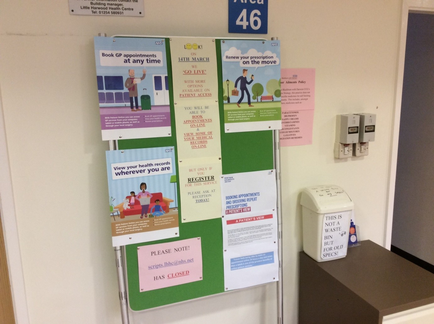 notice board in the surgery