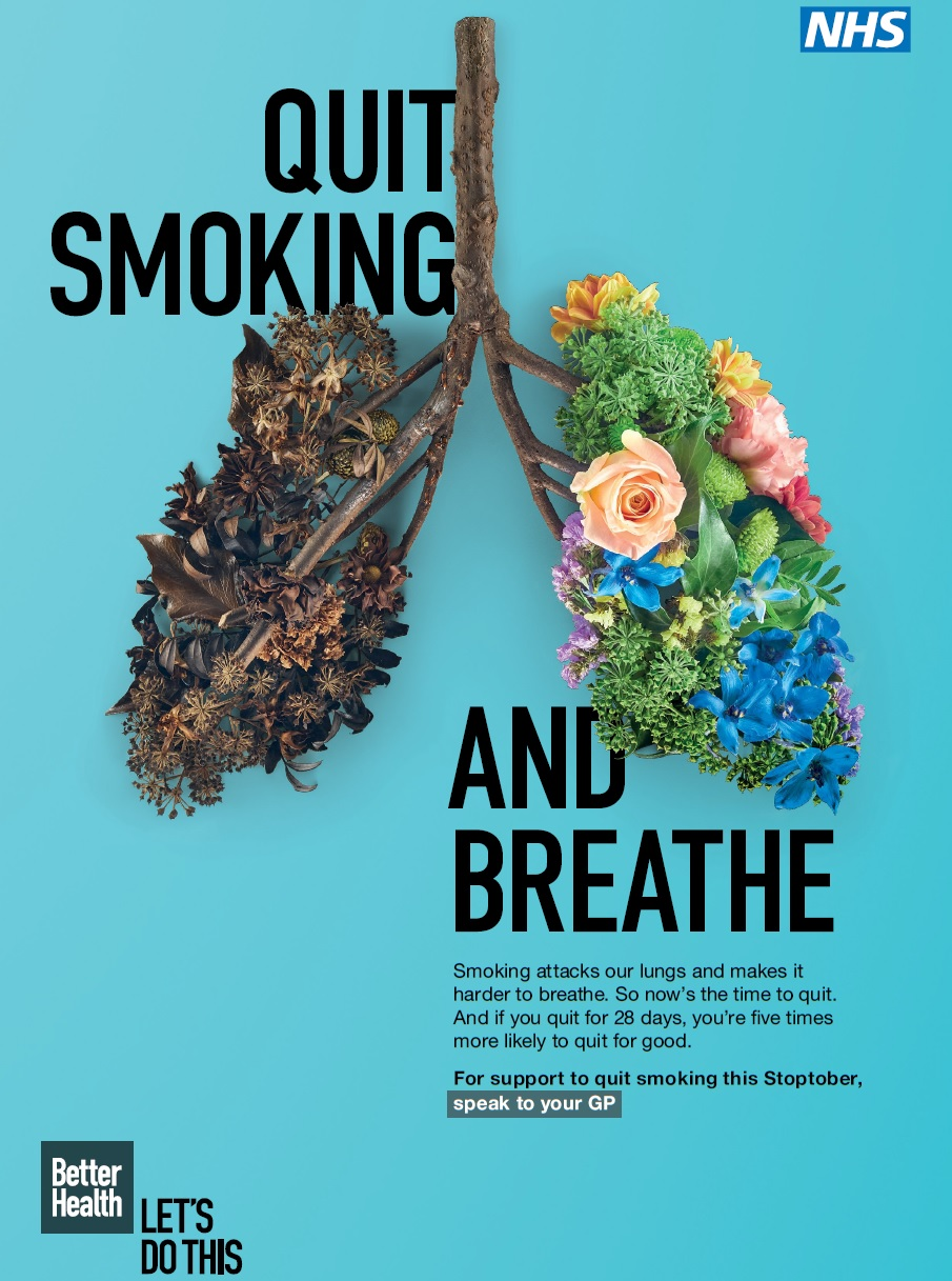 QUIT SMOKING AND BREATHE Smoking attacks our lungs and makes it harder to breathe. So now's the time to quit.